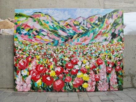 Painting by Giselle Denis Canadian fine artist of colourful mountains and wildflowers
