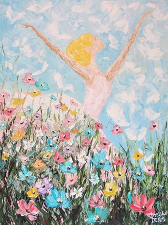 Painting by Giselle Denis Canadian fine artist of a ballerina dancing in a field of flowers.