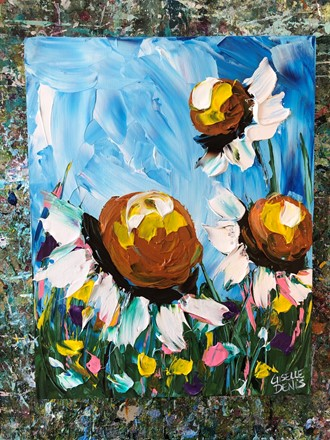 Painting by Giselle Denis Canadian fine artist of daisies under a blue sky.