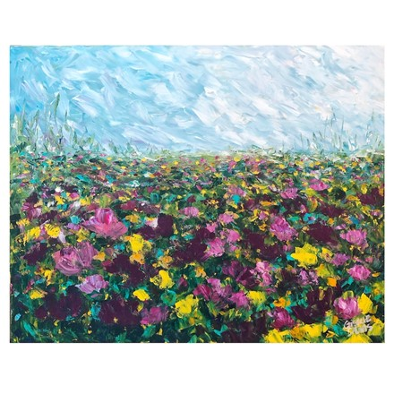 Painting by Giselle Denis Canadian fine artist of a field of purple, pink and yellow flowers under a blue sky.