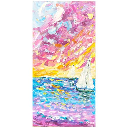 Painting by Giselle Denis Canadian fine artist of a colourful sky with two sail boats on the ocean.