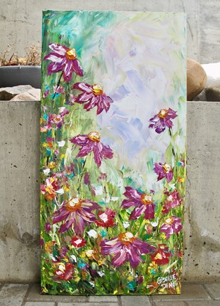 Painting by Giselle Denis Canadian fine artist of purple and pink flowers with tall grass and a blue green sky