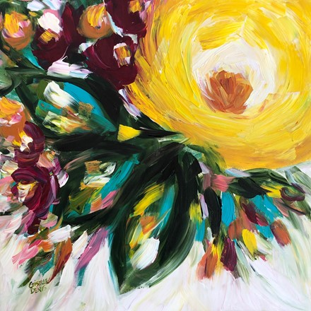 Painting by Giselle Denis Canadian fine artist of a large yellow flower with three leaves and colourful foliage.