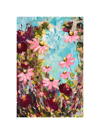 Painting by Giselle Denis Canadian fine artist of pink and burgundy red wildflowers under a blue sky with green foliage.