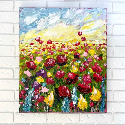 Painting by Giselle Denis Canadian fine artist of red poppies, blue and yellow and pink flowers under a sunset sky.