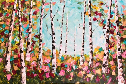 Painting by Giselle Denis Canadian fine artist of birch trees with pink and red flowers under a blue sky.