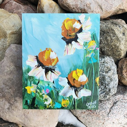 Painting by Giselle Denis Canadian fine artist of daisies with yellow flowers under a blue sky.