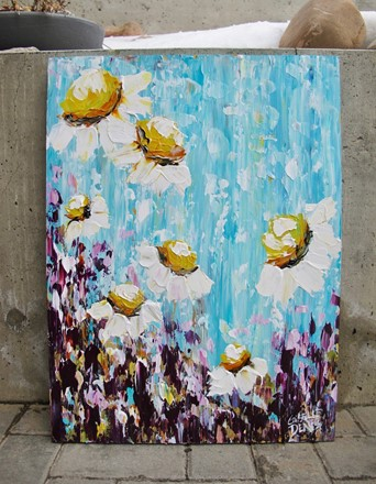 Painting by Giselle Denis Canadian fine artist of floating daisies in a colourful background