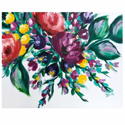 Painting by Giselle Denis Canadian fine artist of green leaves with red and purple flowers on a white background.