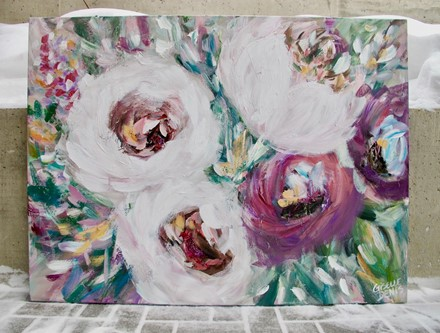Painting by Giselle Denis Canadian fine artist of white and purples flowers grouped together