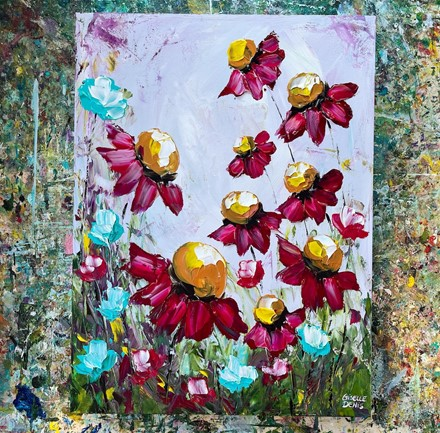 Painting by Giselle Denis Canadian fine artist of pink, burgundy red flowers on a purple pink background.