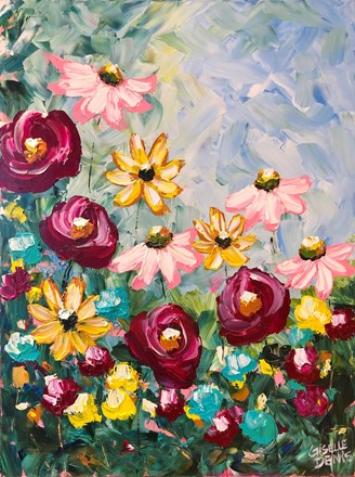 Painting by Giselle Denis Canadian fine artist of pink, orange, red, yellow and blue wild flowers.