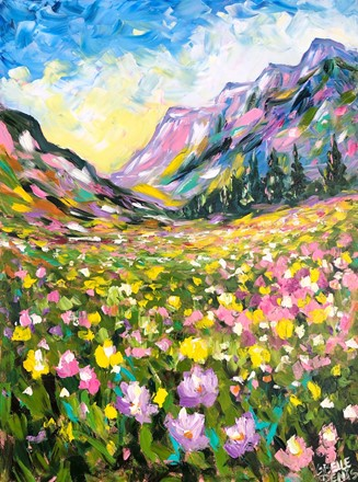 Painting by Giselle Denis Canadian fine artist of colourful mountains under a blue and yellow sky with wildflowers.