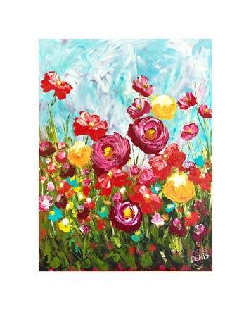 Painting by Giselle Denis Canadian fine artist of red poppies, yellow and red flowers under a blue sky.