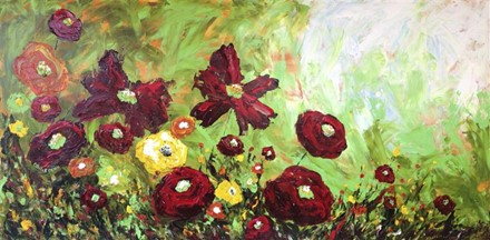 Painting by Giselle Denis Canadian fine artist of red, yellow and orange field of flowers on a green background
