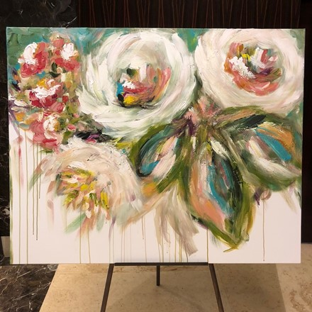 Painting by Giselle Denis Canadian fine artist of white and green abstracted flowers on a white background with a drip effect.