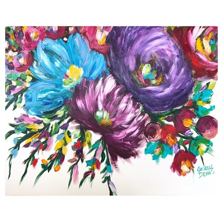 Painting by Giselle Denis Canadian fine artist of bright coloured large abstracted flowers on a white background.