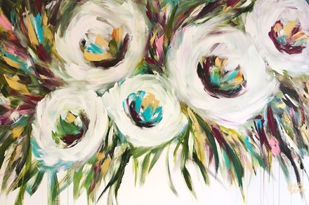 Painting by Giselle Denis Canadian fine artist of five white abstracted flowers with colourful foliage dripping on a white background.