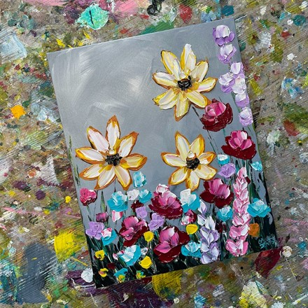 Painting by Giselle Denis Canadian fine artist of yellow, red, blue, purple and pink wildflowers on a grey background.