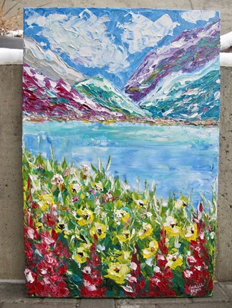 Painting by Giselle Denis Canadian fine artist of colourful mountains with a lake and wildflowers