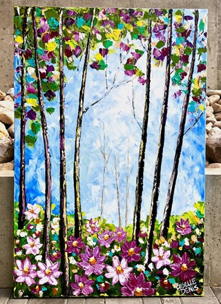 Painting by Giselle Denis Canadian fine artist of a colourful forest with purple wildflowers in the foreground.