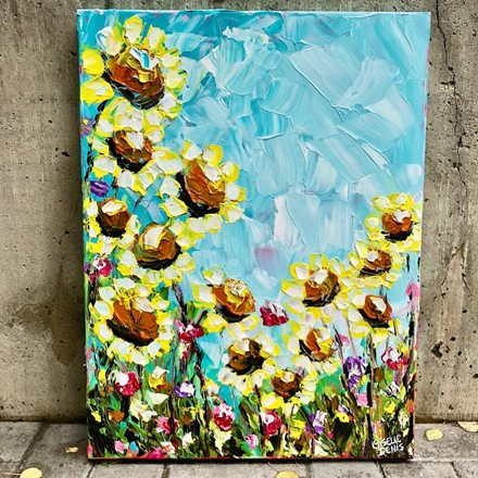 Painting by Giselle Denis Canadian fine artist of sunflowers under a blue sky.