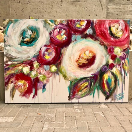 Painting by Giselle Denis Canadian fine artist of colourful abstracted flowers with a dripping effect.