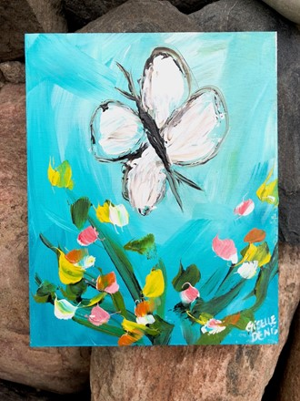 Painting by Giselle Denis Canadian fine artist of a white butterfly on a blue background.