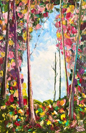 Painting by Giselle Denis Canadian fine artist of a colourful fall forest with a blue sky.