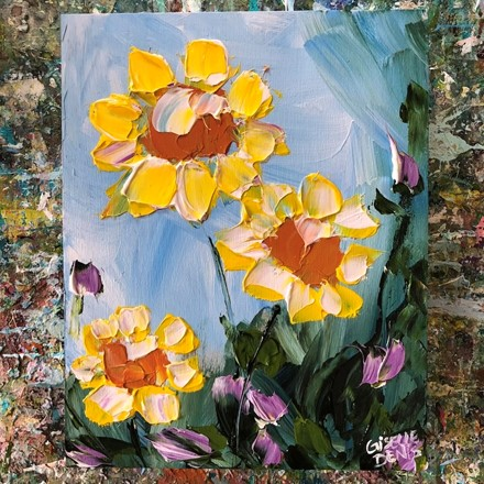 Painting by Giselle Denis Canadian fine artist of yellow flowers under a blue sky with some small purple flowers.