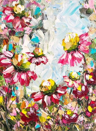 Painting by Giselle Denis Canadian fine artist of pink and burgundy red flowers under a blue sky.