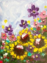 Painting by Giselle Denis Canadian fine artist of sunflowers and other wildflowers under a blue and purple sky.