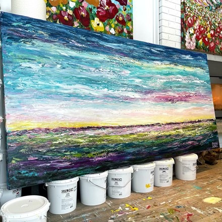 Painting by Giselle Denis Canadian fine artist of a colourful sunrise landscape.