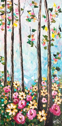 Painting by Giselle Denis Canadian fine artist of tall trees with colourful leaves and wildflowers in the foreground.