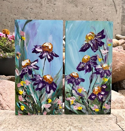 Painting by Giselle Denis Canadian fine artist of purple flowers on a blue sky with colourful grasses.