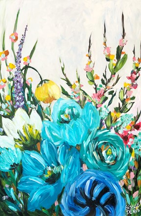 Painting by Giselle Denis Canadian fine artist of blue flowers with pink blossoms on a white background.