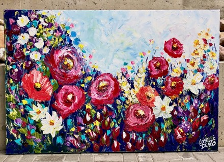 Painting by Giselle Denis Canadian fine artist of a filed of red and white and other colourful flowers under a blue sky.