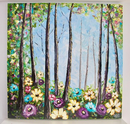 Painting by Giselle Denis Canadian fine artist of a large colourful forest with flowers in the foreground
