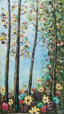 Painting by Giselle Denis Canadian fine artist of a colourful forest under a blue sky with wildflowers in the foreground.