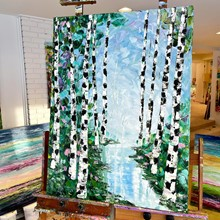 Painting by Giselle Denis Canadian fine artist of birch trees with a lake streaming rhrough.