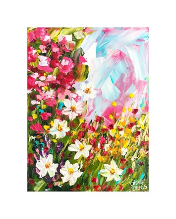Painting by Giselle Denis Canadian fine artist of pink, red and white flowers under a bluish pink sky.