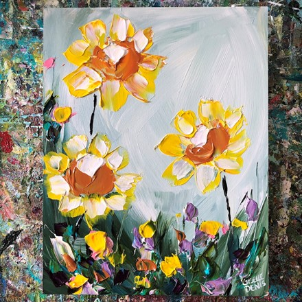 Painting by Giselle Denis Canadian fine artist of yellow flowers with other colourful flowers.