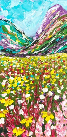 Painting by Giselle Denis Canadian fine artist of colourful mountains with a field of wildflowers.