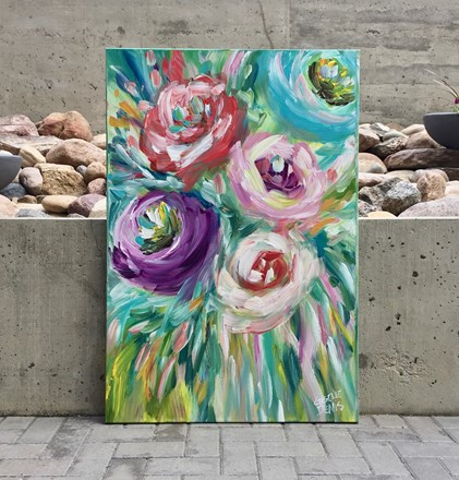Painting by Giselle Denis Canadian fine artist of abstract colourful flowers