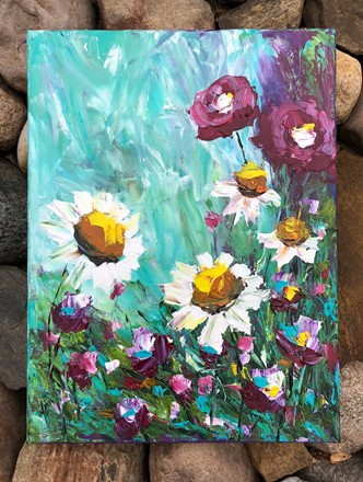Painting by Giselle Denis Canadian fine artist of daisies and purple flowers on a blue sky background.