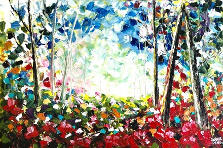 Painting by Giselle Denis Canadian fine artist of a colourful forest with red poppies under a blue sky.