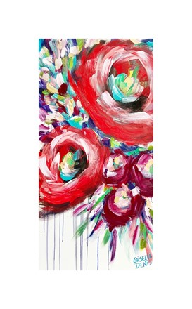 Painting by Giselle Denis Canadian fine artist of large red and purple abstracted flowers with a dripping effect on a white background.