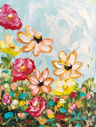 Painting by Giselle Denis Canadian fine artist of orange yellow flowers, pink, burgundy red flowers under  blue sky.