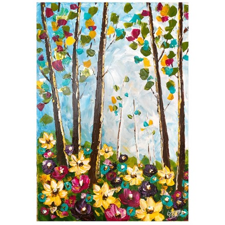Painting by Giselle Denis Canadian fine artist of a colourful forest with wildflowers in the foreground under a blue sky.