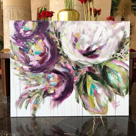 Painting by Giselle Denis Canadian fine artist of abstracted purple and white flowers with a drip effect.